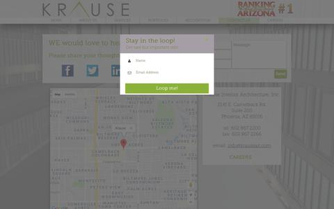 Screenshot of Contact Page krauseaz.com - CONTACT US | United States | Krause Interior Architecture, Inc. - captured Oct. 16, 2018