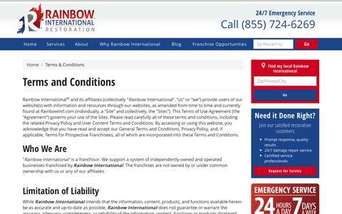 Screenshot of Terms Page rainbowintl.com - Terms & Conditions | Rainbow International - captured Jan. 26, 2016