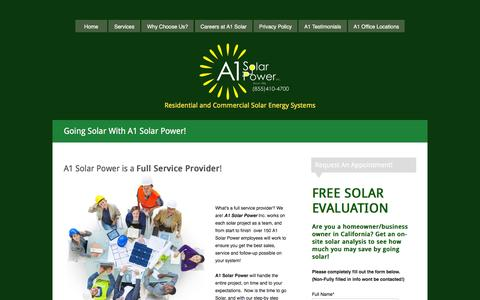 Screenshot of Services Page a1solarpower.net - A1 Solar Power Team - captured Feb. 4, 2016