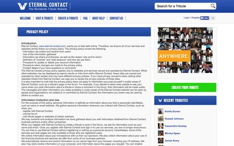 Screenshot of Privacy Page eternal-contact.com - Privacy Policy | Eternal Contact - captured Sept. 30, 2014