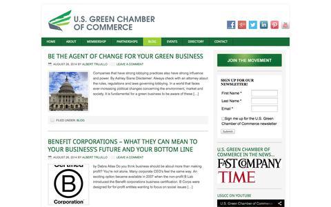 Screenshot of Blog usgreenchamber.com - Blog Archives - U.S. Green Chamber of Commerce | Cities for Change - captured Oct. 3, 2014