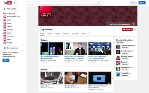 Screenshot of YouTube Page youtube.com - Jay Kenobi  - YouTube - captured Oct. 26, 2014