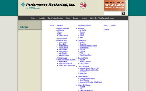 Screenshot of Site Map Page perfmech.com - Performance Mechanical :: Sitemap - captured Nov. 3, 2016