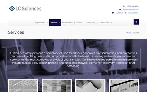 Screenshot of Services Page lcsciences.com - Services | LC Sciences - Biomedical Research & Discovery - captured Sept. 25, 2018