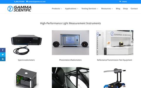 Screenshot of Products Page gamma-sci.com - LED Testing and Light Measurement | Gamma Scientific - captured Oct. 25, 2016