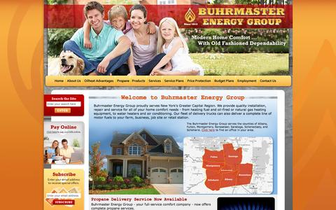 Screenshot of Home Page buhrmaster.com - Buhrmaster Energy Group: Home Comfort in Greater Albany - captured Nov. 17, 2016