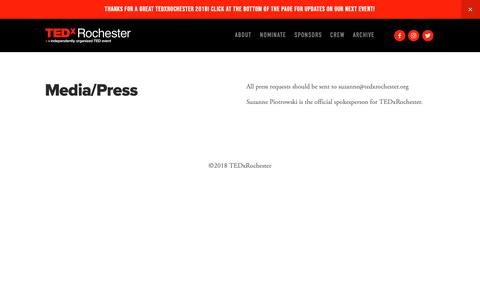 Screenshot of Press Page tedxrochester.org - Media — TEDxRochester - captured Nov. 4, 2018