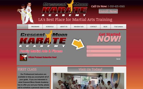 Screenshot of Home Page crescentmoonkarate.com - Kids Karate, Adult martial arts, fitness in los angeles, mid city - captured Feb. 1, 2016
