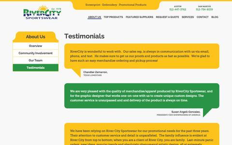 Screenshot of Testimonials Page welogoit.com - RiverCity Sportswear – Austin Embroidery  » Testimonials - captured Oct. 7, 2014