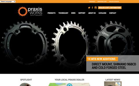 Screenshot of Home Page praxiscycles.com - Praxis Cycles - captured Jan. 29, 2016