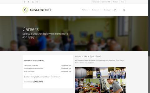 Screenshot of Jobs Page sparkbase.com - Careers - SparkBase - captured July 21, 2014