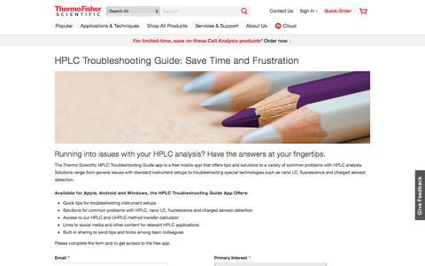 Screenshot of Landing Page thermofisher.com - HPLC Troubleshooting Guide: Save Time and Frustration | Thermo Fisher Scientific - US - captured June 1, 2018