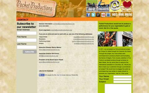 Screenshot of Contact Page pocketproductions.org - Pocket Productions - Contact - captured Sept. 30, 2014