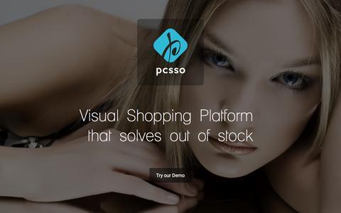 Screenshot of Home Page pcsso.com - Pcsso Visual Shopping Platform - captured Dec. 4, 2015