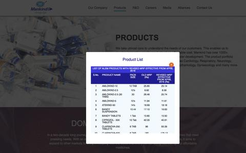 Screenshot of Products Page mankindpharma.com - MANKIND::Product - captured Aug. 25, 2016