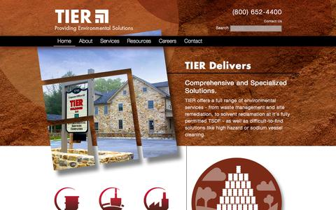 Screenshot of Home Page tierde.com - TIER Environmental Services » Providing Environmental Solutions - captured Oct. 9, 2014