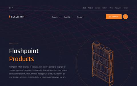 Screenshot of Products Page flashpoint-intel.com - Flashpoint - Products - captured Dec. 19, 2018