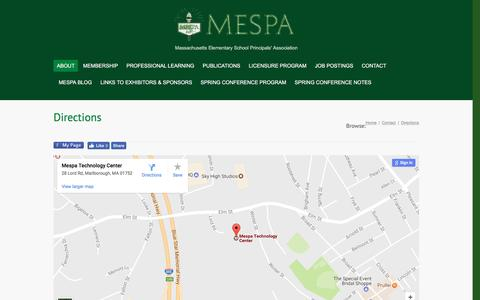 Screenshot of Maps & Directions Page mespa.org - MESPA | Directions - MESPA - captured April 26, 2017