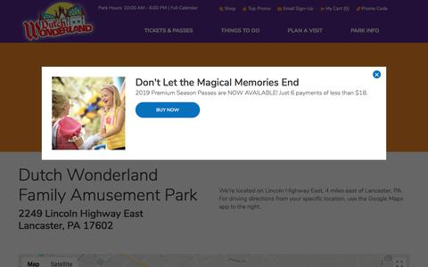 Screenshot of Maps & Directions Page dutchwonderland.com - Driving Directions | Dutch Wonderland - captured Sept. 23, 2018