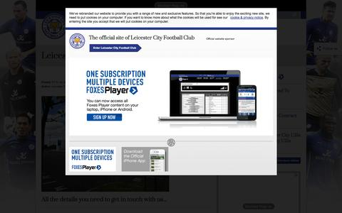 Screenshot of Contact Page lcfc.com - Leicester City FC Club Contacts - captured Oct. 30, 2014