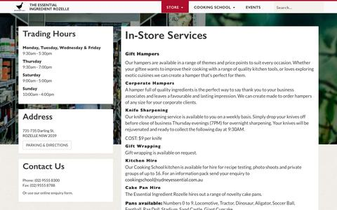 Screenshot of Services Page sydneyessential.com.au - In-Store Services – The Essential Ingredient Rozelle - captured Nov. 30, 2016