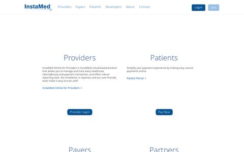 Screenshot of Login Page instamed.com - Login to InstaMed Online, Support Tool and Patient Portal - captured July 4, 2016