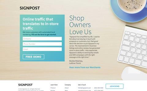 Screenshot of Landing Page signpost.com - Signpost Retail Marketing - captured April 4, 2017