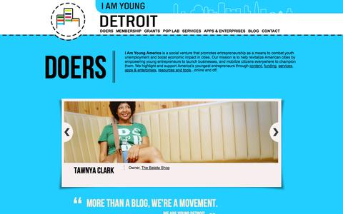 Screenshot of Home Page Blog Contact Page Services Page iamyoungdetroit.com - I Am Young Detroit 2.0 - captured Sept. 30, 2014
