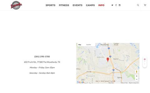 Screenshot of Contact Page Hours Page thelegendssportscomplex.com - Info: Legends Sports Complex - The Woodlands - captured July 30, 2017