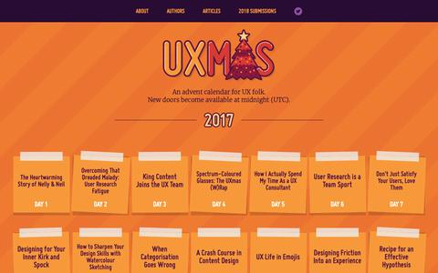 Screenshot of Home Page uxmas.com - UXmas | An advent calendar for UX folk - captured Nov. 9, 2018