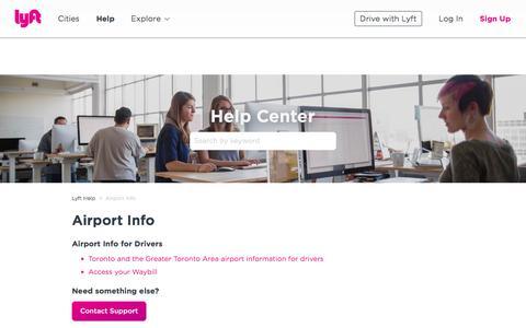 Screenshot of Support Page lyft.com - Airport Info – Lyft Help - captured March 15, 2018