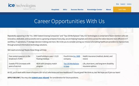 Screenshot of Jobs Page icetechnologies.com - Enhance Your Healthcare IT Career | Join ICE Technologies - captured Oct. 12, 2018