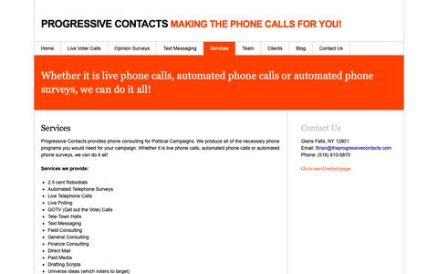 Screenshot of Services Page theprogressivecontacts.com - Services «  Progressive Contacts - captured Sept. 30, 2018