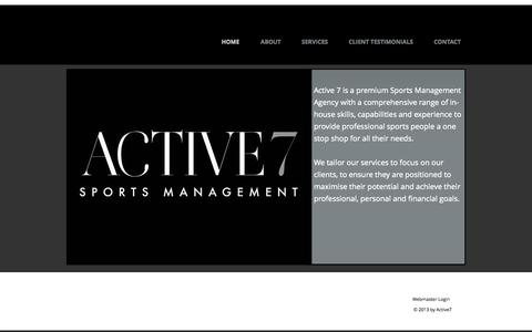 Screenshot of Home Page active7.co.uk - Active7 Sports Management - captured Oct. 4, 2014