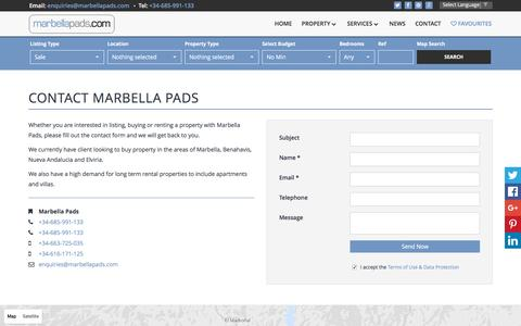 Screenshot of Contact Page marbellapads.com - Contact Marbella Pads | Marbella Pads - captured Nov. 27, 2016