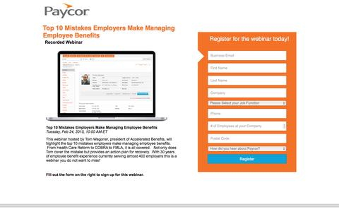 Screenshot of Landing Page paycor.com - Top 10 Mistakes Employers Make Managing Employee Benefits - captured Aug. 22, 2016