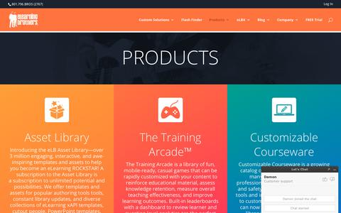 Screenshot of Products Page elearningbrothers.com - Products Overview - eLearning Brothers - captured June 12, 2019
