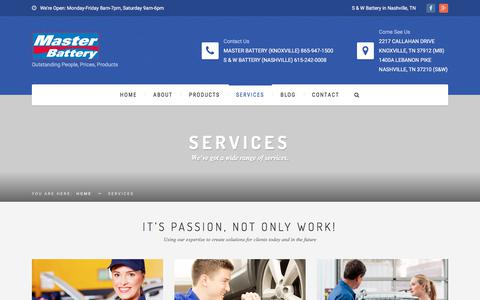 Screenshot of Services Page masterbattery.com - Services   Master Battery - captured Sept. 20, 2018