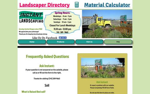 Screenshot of FAQ Page instantlandscaping.com - Frequently Asked Question | CentralOregon | Instant Landscaping Co. - captured July 2, 2018