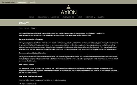 Screenshot of Privacy Page axionwatches.com - Privacy - Axion Pilots Watches - captured Oct. 4, 2014