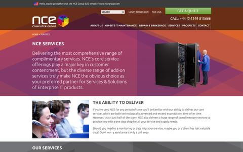 Screenshot of Services Page nceeurope.com - NCE Services Comprehensive and Cost Effective Data Recovery Solutions - captured Oct. 7, 2014