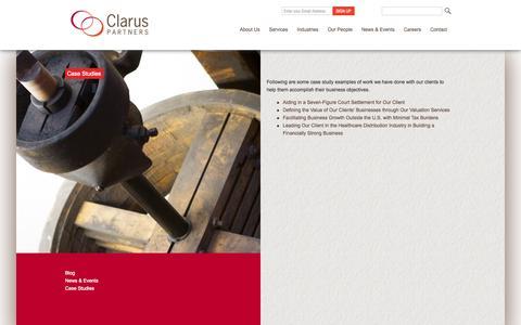 Screenshot of Case Studies Page claruspartners.com - Case Studies - Clarus Partners - captured Sept. 29, 2014