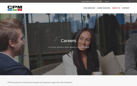 Screenshot of Jobs Page cpm-aus.com.au - CPM Careers   Sales and Retail Marketing - CPM Australia - captured Sept. 25, 2018