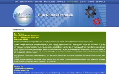 Screenshot of Testimonials Page empower-solutions.com - Testimonials| Empower Solutions - captured Oct. 2, 2014
