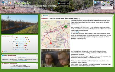 Screenshot of Home Page trail-nord.fr - trail-nord.fr - Trail et courses nature dans le Nord de la France et en Belgique - captured March 23, 2017