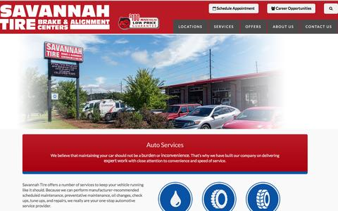 Screenshot of Services Page savannahtire.com - Auto Services and Repairs - captured May 28, 2017