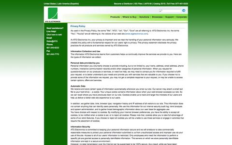 Screenshot of Privacy Page atgelectronics.com - Privacy Policy - ATG Electronics - captured Sept. 30, 2014