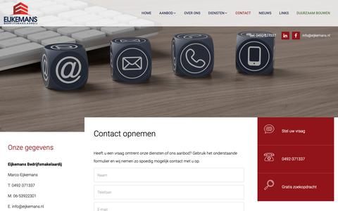 Screenshot of Contact Page eijkemans.nl - Contact opnemen - captured Sept. 27, 2018