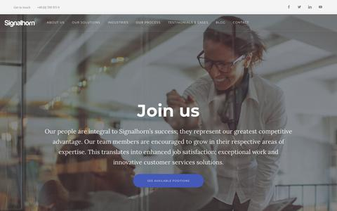Screenshot of Jobs Page signalhorn.com - Careers - Signalhorn - captured Dec. 20, 2018