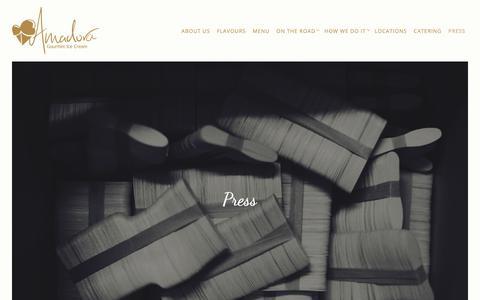 Screenshot of Press Page amadora.in - Press   Amadora Gourmet Ice Cream - captured Oct. 3, 2018
